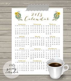 INSTANT DOWNLOAD Printable Yearly View 2015 Calendar by JoJoMiMi
