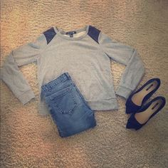 Long Sleeve Sweater! Black sparkles on the sleeves! So cute! Forever 21 Tops Tees - Long Sleeve