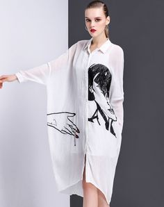 #VIPme White Silk Blend Batwing Loose Fit Shirt dress ❤️ Get more outfit ideas and style inspiration from fashion designers at VIPme.com.