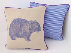 Items similar to Purple Wombat Cushion - Australian Pillow on Etsy Australian Gifts, Wombat, Cushions, Throw Pillows, Purple, Children, Crafts, Etsy, Young Children