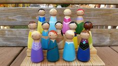Hand-painted, wooden Princess peg dolls from Wooly Llama