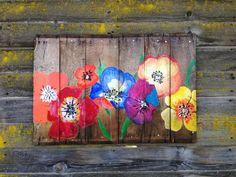 Reclaimed wood hand painted floral mural van AniVintage op Etsy