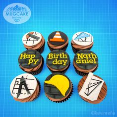Civil Engineer Themed Birthday Cupcakes - www.facebook.com/TheMugCakeFactory