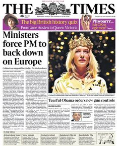 """Wednesday's Times front page: Ministers force PM to back down on Europe British History, Jane Austen, Bbc, January 2016, Times, Wednesday, Europe"