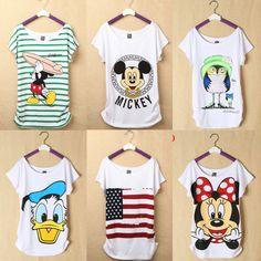 New  Mickey Women T Shirts Short Sleeve Lady Print Duck T-Shirts Female Cartoon Tops Tee Owl Tshirts