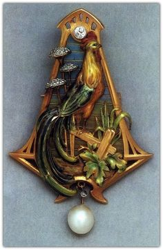 Art Nouveau Bird Brooch. René Lalique (?)