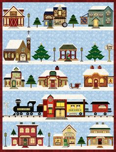 "Holiday Snow Village Complete Set PDF - Holiday Snow Village quilt finishes to: 63 34"" x 80 3/4"" (download-able) - Pam Bono Designs special piecing techniques"
