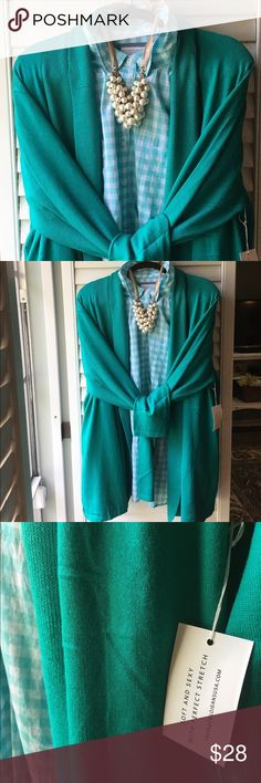 NWT 3x gorgeous green cardigan sweater I have this in 3 other colors for myself. Super soft, stretchy and medium weight. Perfect with leggings, boots or jeans. Hits below hips on me. Brand new. Sweaters Cardigans