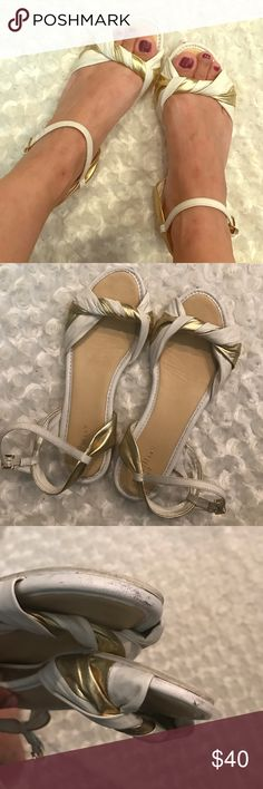 Cole Haan size 7 White and gold. Super comfy and cute. Good conditions. Details shown in pics. Cole Haan Shoes Sandals