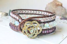 Leather Wrap Bracelet | Cuff | Bangle |  | Country Jewelry | Western | Rose | Boho | Bohemian | Hippie Chic | Handcrafted