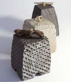 Patricia Shone - Hand Built, Wood Fired Ceramics - carved boxes wood fired 2010