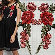 2X Peacock Embroidery Rose Flower Sew Iron Patch Badge Dress Cloth Applique B