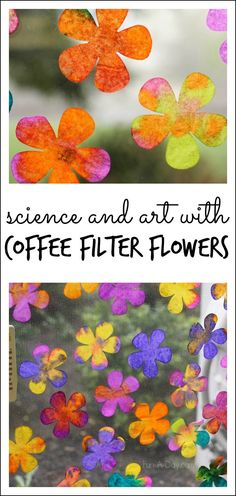 This coffee filter art project lets children explore science and art concepts while making gorgeous coffee filter flowers Math science fine motor skills and spring art in one amazingly fun experience Definitely a mustdo preschool spring activity. Coffee Filter Art, Coffee Filter Crafts, Coffee Filter Flowers, Coffee Crafts, Kids Crafts, Summer Crafts, Projects For Kids, Spring Art Projects, Summer Art