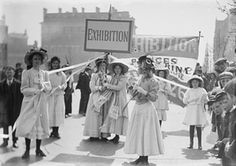 Young suffragettes promoting the Women's Exhibition in Knightsbridge, London, May 1909, by Christina Broom