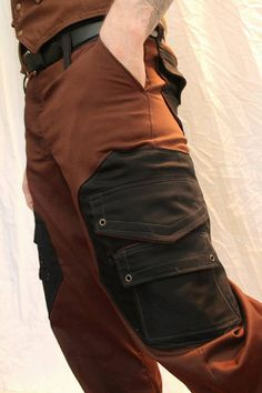 Handmade Cargo Pant in a brown/Black color scheme by LostBoysRags