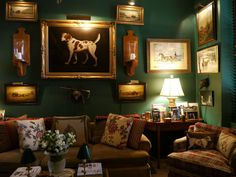 Apartment :Horse Dog Framed Prints Wall Gallery Green Painted Walls Decor Plaid Chair Decorating Traditional Home Room Ideas - HeimDecor Green Painted Walls, Dark Green Walls, Dark Walls, Traditional Interior, Traditional House, Traditional Design, Traditional Decorating, Home Interior, Interior Decorating