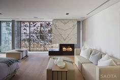 Marble fireplace book matched, Saota Architects