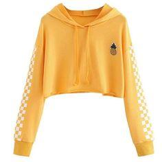 Womens Crop Tops Sweatshirt Pineapple Embroidery Gingham Plaid Hoodies – geekbuyig