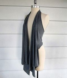 "Cool draped ""vest"" out of an old tshirt!  Only takes 3 cuts - no sewing!"