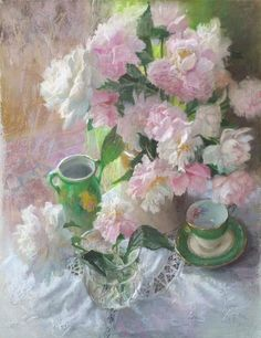 """December's Dynamite Pastels: Leoni Duff, """"Pink And White Peonies,"""" pastel on 'Bowden Board,' 31 1/2 x 23 5/8 in (80 x 60 cm)"""