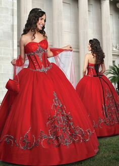Red Ball Gown Sweethear and Strapless Bandage Floor Length Quinceanera ...