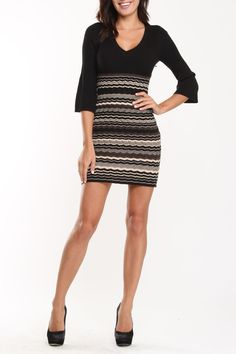 Nine West Sarah A-Line Sweater Dress In Charcoal, Taupe And Black