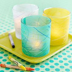 Colorful Vellum Votives: These delightful decorations let your kids' art shine and even make it simple for young ones to craft a special gift for Mom.