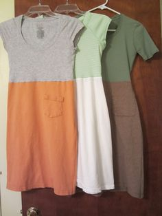 DIY t-shirt dresses, the skirt is made out of a man's shirt and the top is made out of a shirt that fits.