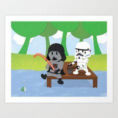 Star Wars Kids - Darth Fishing Art Print by Nixon Graphix - $15.00