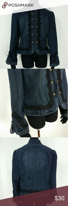 "😍 Denim Jacket Size XL Lovely denim jacket by Live A Little Size XL Dark wash denim. Black lace detailing. Mandarin collar. Puffed shoulders. Tailored to accentuate curves. Fringed/pleated hems & cuff 10 metal brass buttons. Hidden hook & eye closure. 82% Cotton, 17% Polyester, 1% Spandex. Bust (underarm to underarm): 21"" Length (down center of back): 21.5"" Sleeve (shoulder seam to end of cuff): 24"" Shoulder (seam to seam across back): 17.5"" Waist (flat across front): 20"" Excellent…"