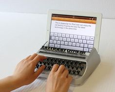 iTypewriter  Longing for the nostalgic clickity clack sound of typing keys on a typewriter? The concept of the iTypewriter accessory by industrial designerAustin Yang, tries to mix the clunkiness and noise of a retro-style typewriter with the new technology and sleek design of Apple's iPad tablet.