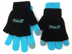 As seen on TV! This is the iTouch (tm) glove. The glove allows you to stay warm while sending text messages and other functions for your touch screen devices. At the tip of the index finger and thumb, there is a special conductive magnetic fibre that allows you to use the touch-screen device with the same (if not better) responsiveness you would get from your finger.