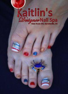 Anchors Away Nautical Gel Artificial Toenail Art Nail Spa, Pedicure Nail Art, Toe Nail Art, Pedicure Designs, Toe Nail Designs, Summer Toenail Designs, Pretty Toe Nails, Cute Toe Nails, French Tip Pedicure
