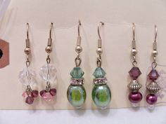 3 Pairs of Swarovski crystal and glass earrings on a keepsake card by SparkleandComfort, $12.00