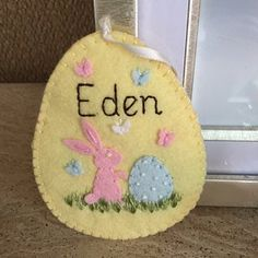 Items similar to Felt Easter decoration, Colorful Embroidered Decorative Easter eggs, Easter decorations, Easter basket decor Rainbow Easter Ornament - 1 egg on Etsy Easter Lamb, Easter Bunny Eggs, Handmade Ornaments, Felt Ornaments, Yellow Ornaments, Felt Christmas, Christmas Ornaments, Pastel Pink Weddings, Felt Keychain