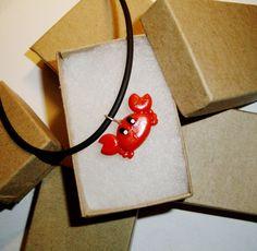 Little Red Crab Pendant by SweetAppleTea on Etsy