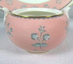 Pimpernel Pink Wedgwood English Bone China Flat Sugar Bowl W3652 Gold Trim EUC! #Wedgwood