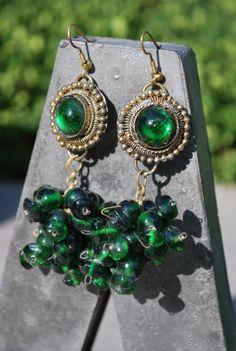 Gorgeous Emerald Green & Gold Boho Earrings by GoodSoulVintageMI, $35.00