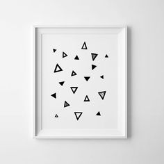 Geometric print abstract print black and white art by MiniLearners