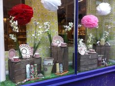 My Easter window display showing china products including Emma bridgewater.