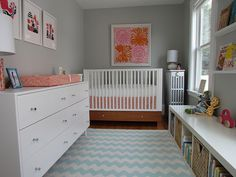 cute, functional, well-organized nursery - easily converted to kids' room by changing the bed - great use of a small space!
