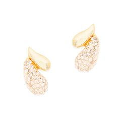 We won't blame you if you fall head over heels for the gold crystal double tear drop stud earrings. Champagne crystals elegantly cover the larger drop. You'll make quite the impression in these.  Find it on Splendor Designs