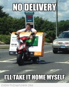 funny caption man rides motorcycle with large tv  no delivery i'll take it home myself