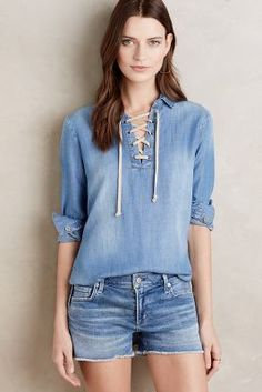 Cloth & Stone Lace-Front Chambray Top