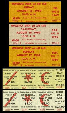 Here are Ten great items,    ****REPLICA****    1969    Woodstock concert tickets.        These tickets are printed on 9 mil. matte photo paper.