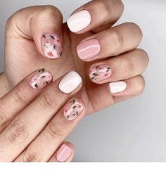53 Awesome Cherry Blossom Nail Art Designs and Ideas - Floral nail art - Blush Nails, Floral Nail Art, White Nail Art, Pink Nail Art, Design Floral, Motif Floral, Cute Nails, Pretty Nails, Milky Nails