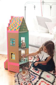 DIY Duct Tape Brownstone Dollhouse from Merrilee Liddiard's book PLAYFUL; photo by Nicole Gerulat #playfultoysandcrafts