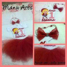 Kit Chapeuzinho Vermelho Body personalizado +saia de tule + faixa