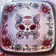 Awesome Day of the Dead  cat sugar skull plate!