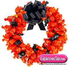 candy wreath | Mary Jane Peanut Butter Kisses Taffy Candy Wreaths - EdibleWreaths.com